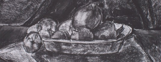 Charcoal drawning of fruit.